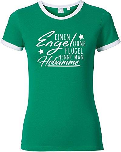 EZYshirt® Ein Engel ohne Flügel nennt Man Hebamme Damen Rundhals Ringer T-Shirt