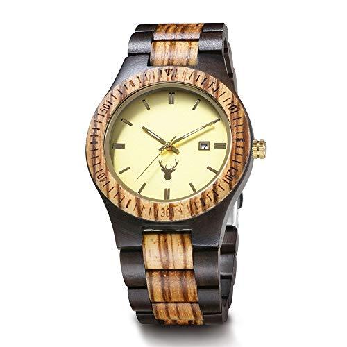 WHQ Mode-Quarz-Uhr der nagelneuen Zebra Holz Benutzerdefinierte Männer Holztisch High-End-Kreative Holztisch, mit leuchtendem, das besten Urlaub Geschenk QD (Color : B)