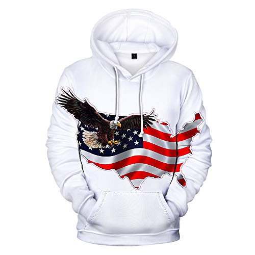 Men Women Casual Long Sleeve Sweatshirt American Independence Day Eagle/USA Flag 3D Print Hoodies