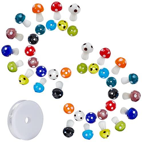 SUNNYCLUE 50 piezas de 10 colores de 16 x 12 mm hechos a mano de hongos Lampwork cuentas coloridas espaciadoras con hilo de cristal elástico para mujeres principiantes, pulseras, collares y joyas