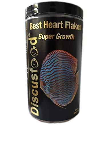 Best Heart Flakes Super Growth 830ml Premium Fischfutter,Flockenfutter,Rinderprotein mit Vitaminen und Mineralien,alle Zierfisch,speziell auch für Diskus oder Welse,unterstützt das Wachstum