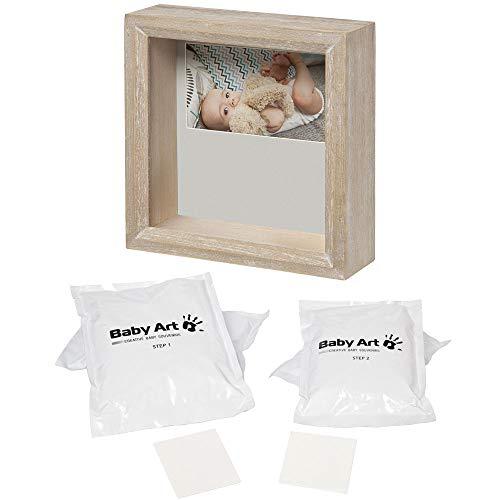 Baby Art - Bilderrahmen zweiteilig mit Gipsabdruck und Foto für Baby Fußabdruck oder Handabdruck, My Baby Style, eckig, essentials