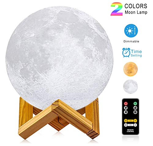 Moon Lamp, LOGROTATE (4.7 inch) 3D Printing LED Night Light Moon Light with Stand & Remote Control, Warm & Cool Two Colors and Dimmable & Time Setting, USB Rechargeable for Kid Lover Birthday Day Gift