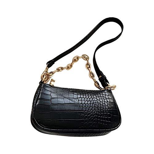 POHOVE Sling Rucksack, Frauen Crossbody Tasche PU Leder Handtasche Schultertasche Krokodil Muster Reißverschluss Kleine Schulter Satteltasche
