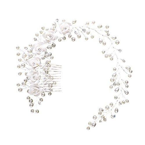 Frcolor Braut Kopfschmuck Braut Haar Rebe Hochzeit Stirnband Perlen Blumen Braut Haarschmuck
