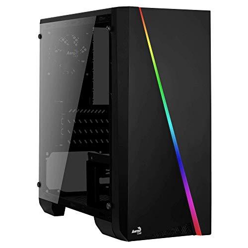 Aerocool Cylon Mini - mATX RGB PC-Spieletasche, Seitenfenster aus gehärtetem Glas, 13 Beleuchtungsmodi, 1 x 80 mm schwarzer Lüfter inklusive, Micro & Mini ATX-Unterstützung | Schwarz