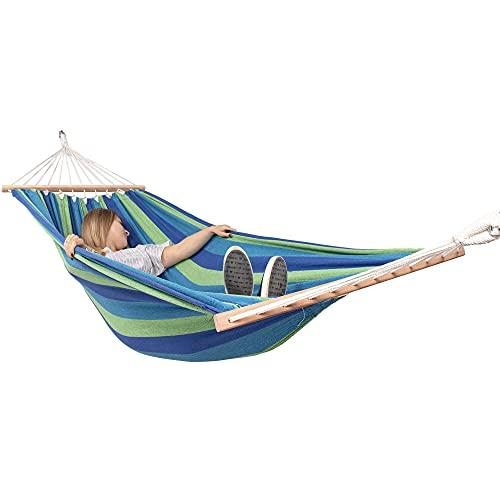 SPRINGOS Amaca doppia con 2 cordini, amaca brasiliana a righe, amaca per due persone, in cotone, per il rilassamento, giardino, veranda, confortevole (blu)