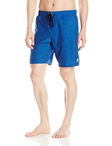ZeroXposur Men's Solid Volley Swim Short, Blue Graph, X-Large