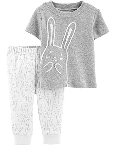 Carter's Baby Boys' 0M-24M 2 Piece Easter Top and Pants Set (Newborn, Grey/Ivory)