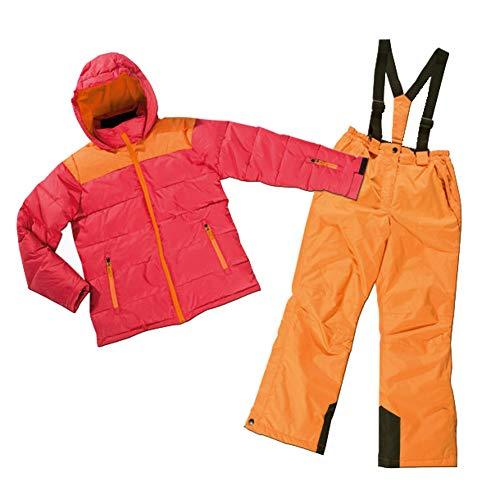 Mädchen Skianzug Skijacke & Skihose Set rot-orange Snowboardanzug (116)