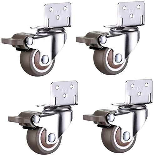 SHOP YJX Cunas giratorias tipo L de 1/2 pulgadas, ruedas de goma TPR para muebles de mute universal, rodamientos de bolas con frenos, capacidad de 80 kg – 4 ruedas