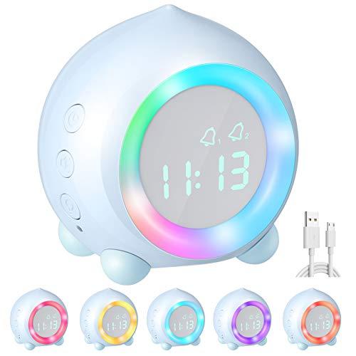 Homealexa Digitaler Kinderwecker, Kinder Digitaler Wecker Sonnenaufgangssimulator Kinderwecker Ohne Ticken für Mädchen Jungen mit Snooze-Funktion, zeitgesteuertes Bunte Nachtlicht