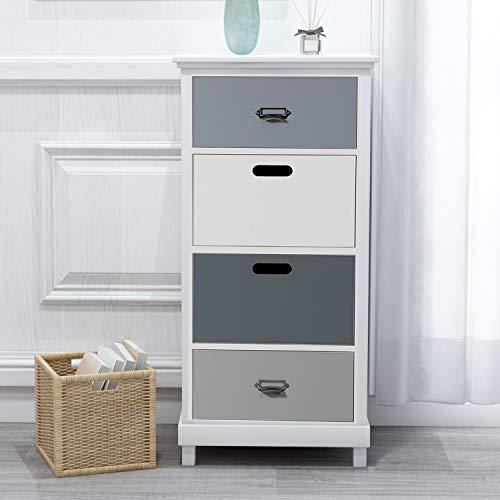 ModernLuxe Morandi Kommode Schrank Organizer Nachtschrank Aufbewahrung Sideboard Kleiderschränke mit 4 farbigen Schublade Beistelltische für Wohnzimmer Schlafzimmer, 40 x 30 x 90 cm