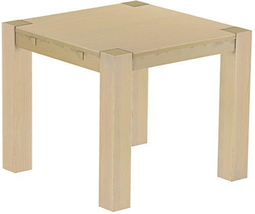 Brasilmöbel Esstisch Rio Kanto 90x90 cm Birke Pinie Massivholz Größe und Farbe wählbar Esszimmertisch Küchentisch Holztisch Echtholz vorgerichtet für Ansteckplatten Tisch ausziehbar