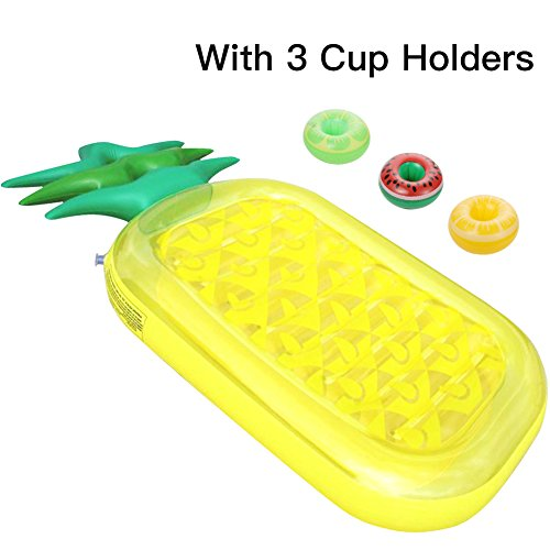 ThinkMax 6 x 3 pies de PVC piña Inflable Gigante, Balsas flotantes para Piscinas al Aire Libre, Fiesta de Verano Inflable Floatie Lounge Toy para niños y Adultos