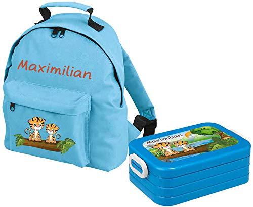 Mein Zwergenland Set 1 Kindergartenrucksack Classic und Brotdose Lunchbox Maxi mit Name Tiger, 2-teilig, Hellblau