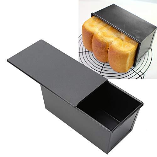 Laib Backform Schwarz Antihaft-Toast Box Kohlenstoffstahl Backgeschirr Laib Pfanne mit Deckel Küche Backgeschirr zum Bellen, Brot und Hackbraten hausgemachte Kuchen Backform Brot