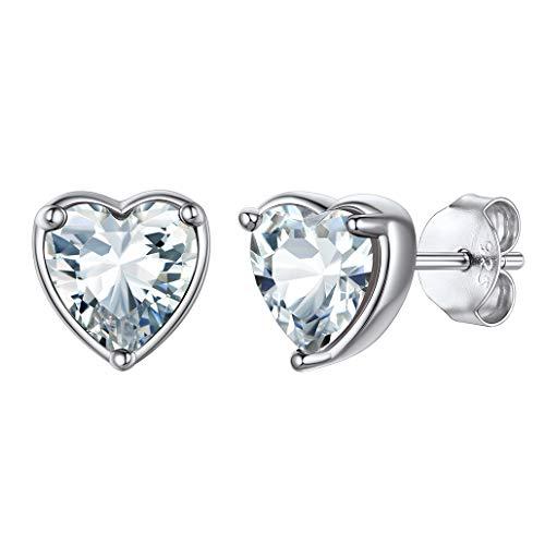 pendientes mujer plata corazones, pendientes con piedra de nacimiento