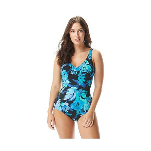 Roxanne E82431, Bra Sized V-Neck One Piece Swimsuit (40DD, Black)