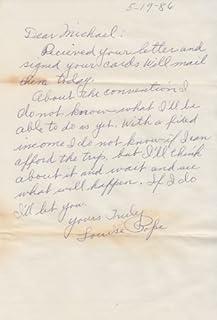 ELEANOR SHUMAN (Titanic survivor) signed handwritten letter