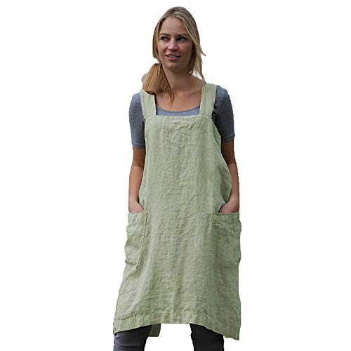 Women's Pinafore Square Apron Baking Cooking Gardening Works Cross Back Cotton/Linen Blend Dress with 2 Pockets Light Green-3XL