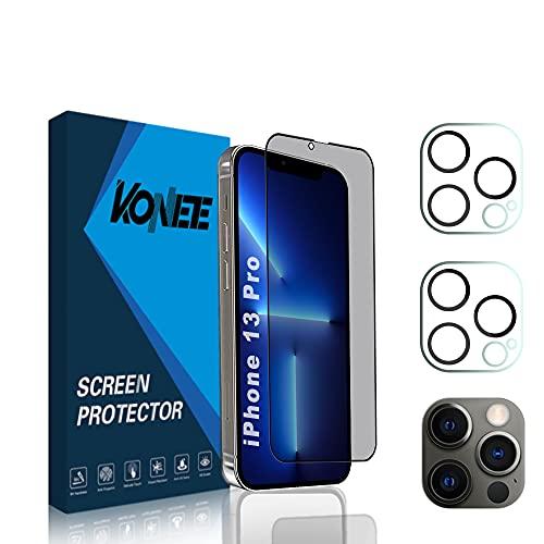 KONEE [1 + 2 Pezzi 1 Pezzi Privacy Vetro Temperato + 2 Pezzi Fotocamera Posteriore Pellicola Compatibile con iPhone 13 PRO, Anti-Graffo Anti Spy Pellicola Protettiva per iPhone 13 PRO
