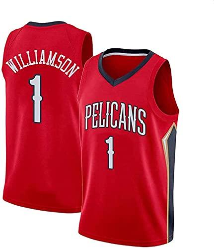 CPBY Pelícanos # 1 Zion-Williamson Jersey Vintage Bordado De Malla Baloncesto Traje De Entrenamiento, Negro, L, Rot - M