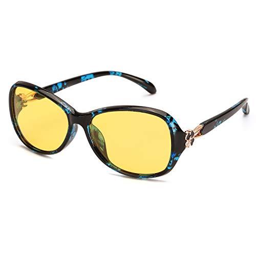x loop night vision driving glasses RazLiubit Night-Vision Glasses for Women Driving HD Anti Glare Polarized, Clear Yellow Tint Lens Relieve Eyes Strain
