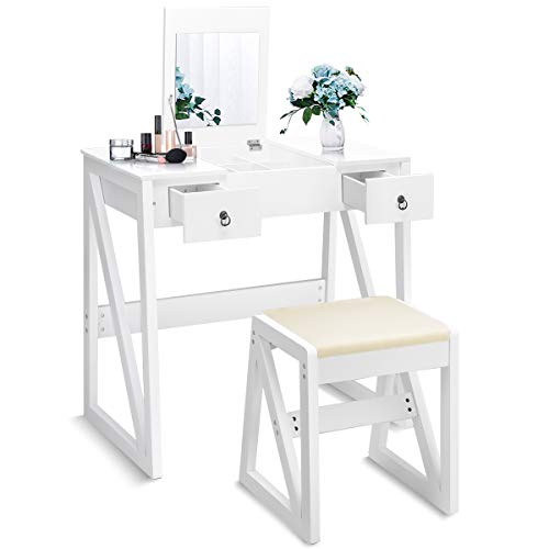 DREAMADE Toeletta da Trucco con Sgabello e Specchio Pieghevole Comò Tavolino Cosmetico con Vano Contenitore, in MDF, Bianco