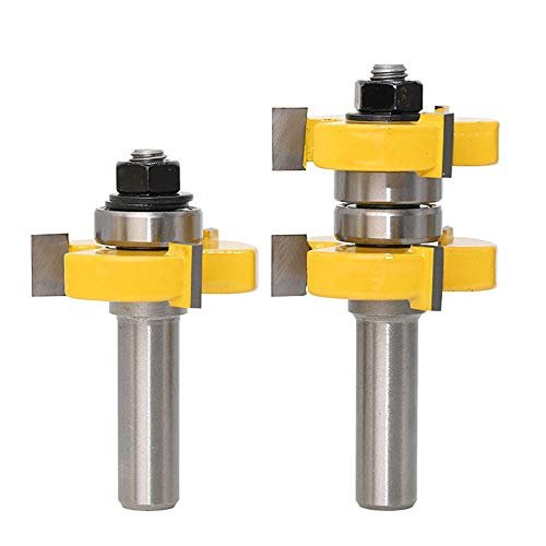 "Yakamoz 1/2 Inch Shank Adjustable Tongue and Groove Router Bit Set 1-1/2"" Stock Woodworking Cutting Milling Tools"