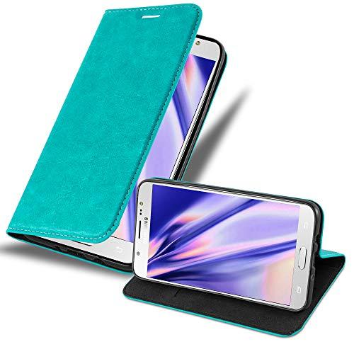 Cadorabo Funda Libro para Samsung Galaxy J7 2016 en Turquesa Petrol - Cubierta Proteccíon con Cierre Magnético, Tarjetero y Función de Suporte - Etui Case Cover Carcasa
