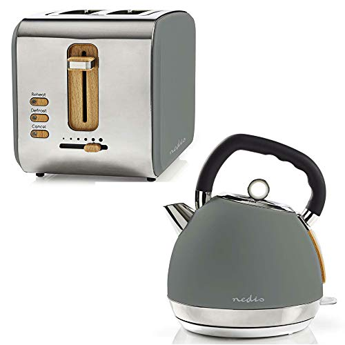 TronicXL Design Frühstücksset Toaster + Wasserkocher Holz Design + Edelstahl grau