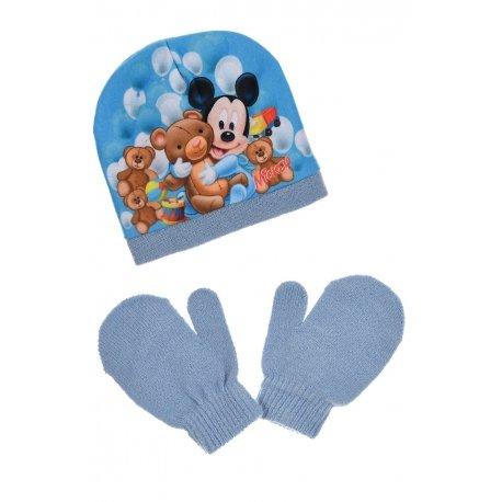 Ensemble bonnet gants bébé garçon - Bleu - 48 cm