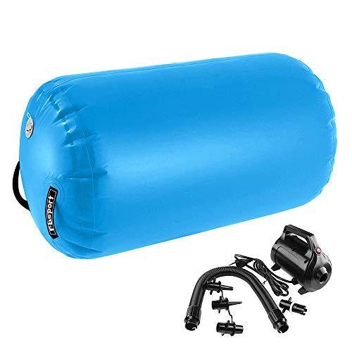 FBSPORT Aufblasbare Air Roll, 120cm aufblasbare Luft Rollen, Yoga Gymnastic Zylinder, Gym Air Barrel, Airtrack Ãœbung Spalte mit Luftpumpe