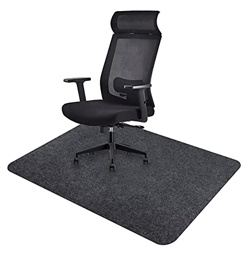 Icegrey Stuhlmatte Bodenschutzmatte Bürostuhl Rechteckig Waschbar Rutschfester Bodenschutz für Holzböden und Fliesenböden Dunkelgrau 120x90cm