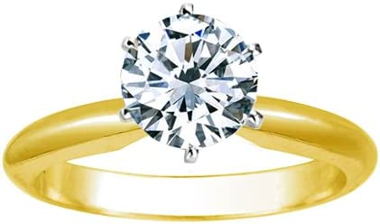 1/2 Carat Round Cut Diamond Solitaire Engagement Ring 14K Yellow Gold 6 Prong (K, I2, 0.5 c.t.w) Very Good Cut