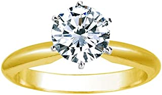 Near 1 Carat Carat Round Cut Diamond Solitaire Engagement Ring 18K Yellow Gold 6 Prong (J, SI2-I1, 0.85 c.t.w) Very Good Cut