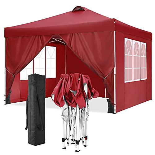 TOOLUCK 3x3m Gazebo da Giardino Pieghevole Gazebo Impermeabile Tenda da Giardino con Prese D'aria 4 Pareti Laterali e 4 Borsa, 3x3m , Rosso