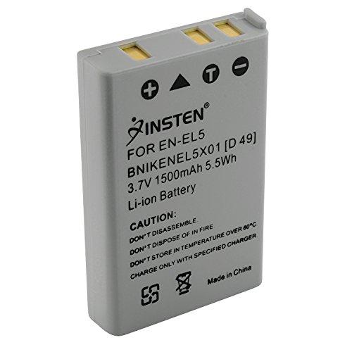 Insten 1500mAh Replacement EN-EL5 ENEL5 / CP1 Rechargeable Li-ion Battery for Nikon Coolpix P80 P90 P100 P500 P510 P520 P530 P6000 P3 P4 1 AW1 3700 4200 5200 5900 7900 AW1 P3 P4 P5000 P5100 S10 Camera