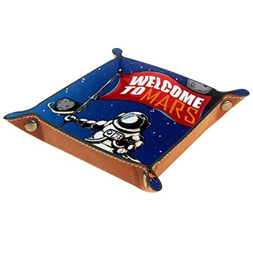 ATOMO Plateau de rangement en cuir avec inscription « Welcome to Mars Exploration Astronaute Planète Clé Bijoux Pièces Divers »