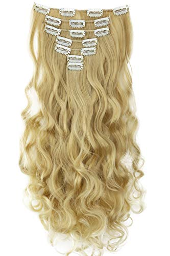 PRETTYSHOP XL 45cm 7 Teile Set CLIP IN EXTENSIONS Haarverlängerung Haarteil Voluminös Gewellt Hellblond Mix CE7-1