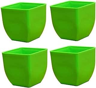Novicz Sra-pot-daisy5-4pcs-green Plastic Indoor Plant Pot, Green (Pack of 4)