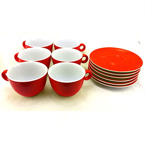 Juego de 6 Tazas para Capuccino de Porcelana con Platos, Capacidad 210ml, Color Rojo, ideal para café con leche.