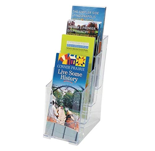 """1InTheOffice 4-Tier Brochure Holder, Plastic Literature Brochure Size Stand, Wall Mount or Counter Top Use Clear Acrylic 4""""x6"""""""