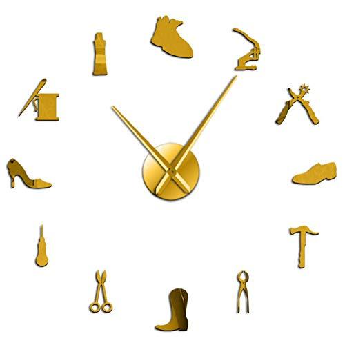 mazhant Reparación de Zapatos Arte de la Pared DIY Reloj de Pared Gigante Zapatero sin Marco Reloj silencioso Grande Zapatería Zapatero Arquero Zapatero Regalo Decoración de la habitación-47inch