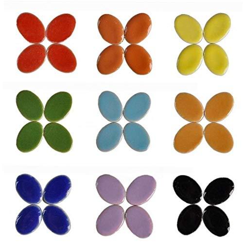 AMOYER 60pcs / 3 Pack Mosaico Fabbricazione dei Monili del Mosaico \'orecchino Piastrelle in Gres Porcellanato Micro Ceramica Fai Te Manuale Mosaico Decor Ovale Ultrasottile in Ceramica per La