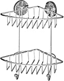 WENKO 20888100 Vacuum-Loc Eckregal Bari 2 Etagen - Befestigen ohne bohren, Stahl, 22.5 x 29.5 x 16 cm, Chrom