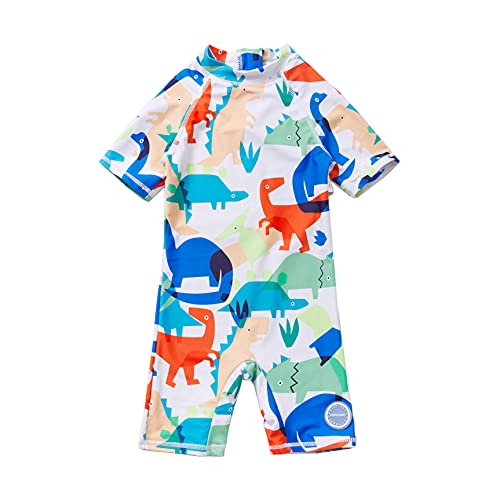 Soui Bonverano - Traje de baño de manga corta para bebé, protección UV 50+, con cremallera, Dinosaurio blanco., 24 Meses
