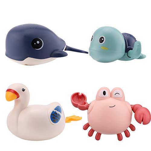 SAVITA 4 Stück Badespielzeug zum Aufziehen, Schwimmende Badewannenspielzeug für Niedliche Schildkrötenschwan-Walkrabben, Lustiges Poolspielzeug zum Baden Geburtstagsgeschenk Partyzubehör