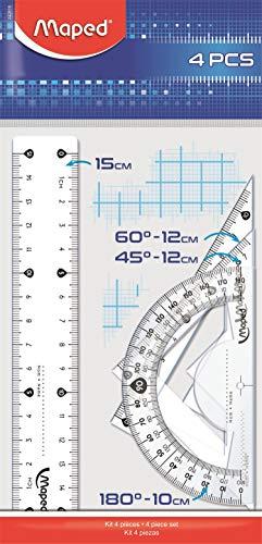 Maped Disegno Kit Con Righello 15 Cm, 2 Squadre 15Cm, Goniometro 10Cm